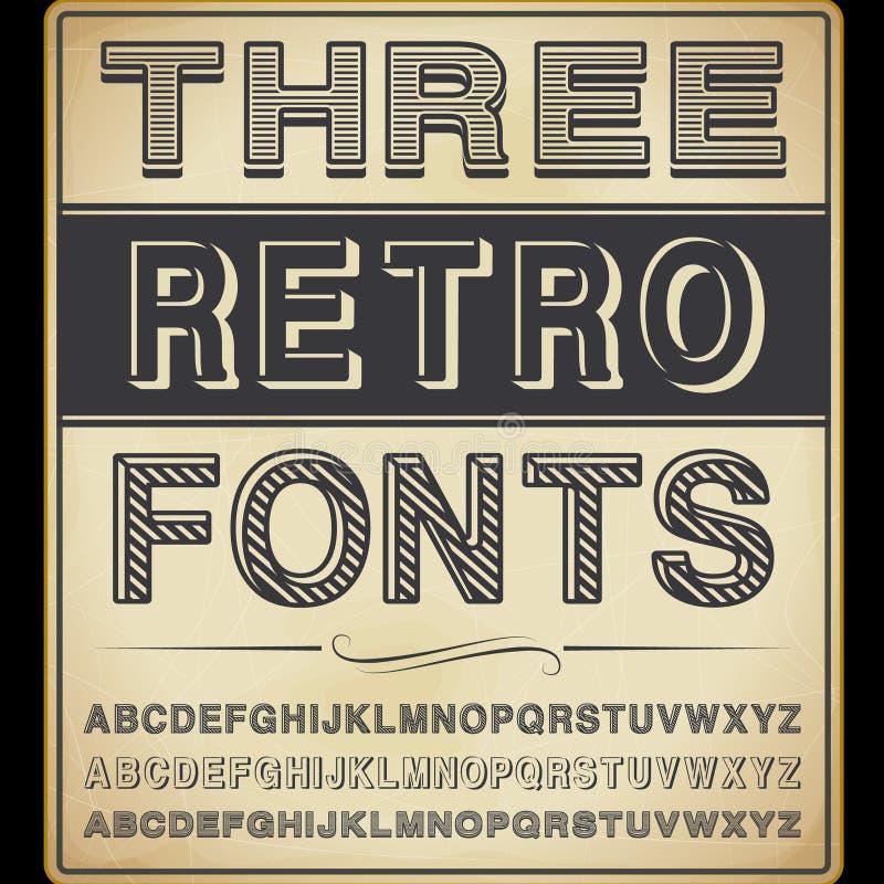 3 винтажных шрифта иллюстрация вектора