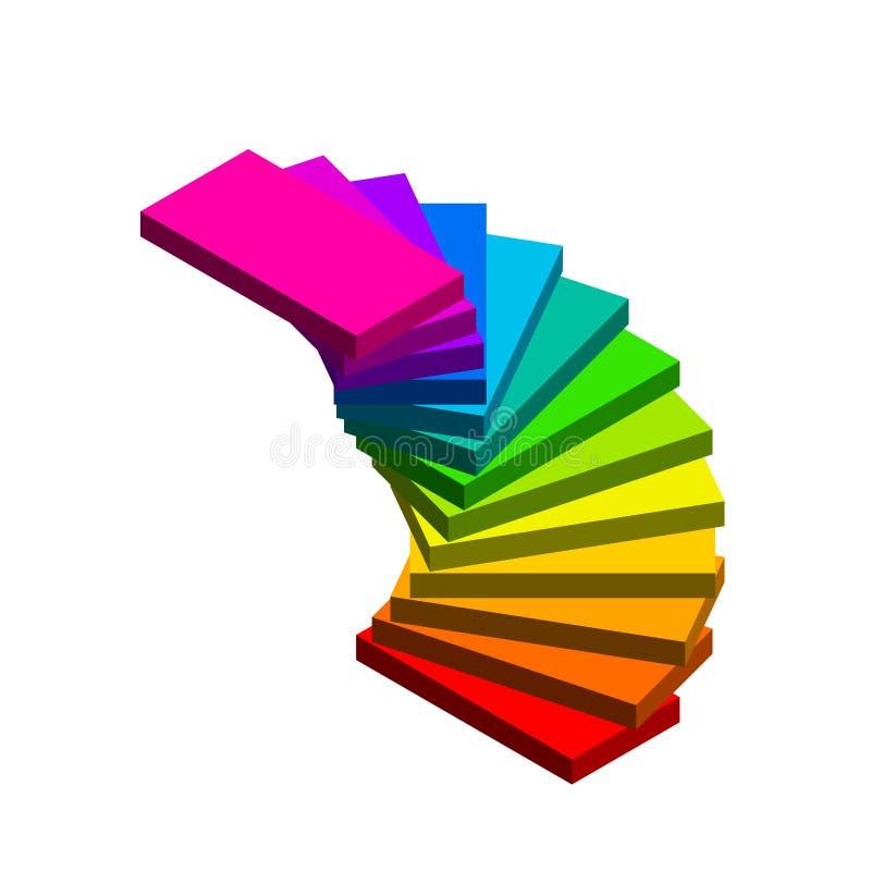 винтовая лестница На белой предпосылке colorfu вектора 3d иллюстрация штока