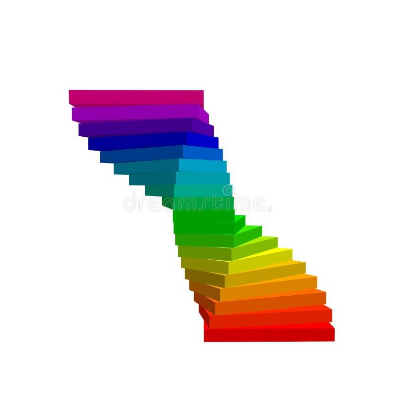 винтовая лестница белизна изолированная предпосылкой colorfu вектора 3d иллюстрация вектора