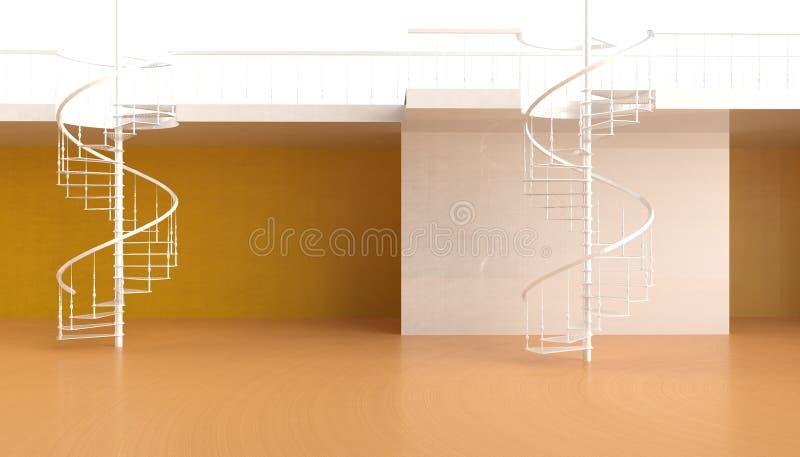 Винтовая лестница в красивой и минималистской современной жилой площади на заднем плане желтых стен и новых идей бесплатная иллюстрация
