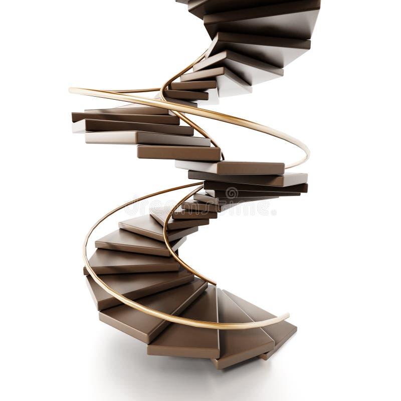 Винтовая лестница изолированная на белой предпосылке иллюстрация 3d иллюстрация штока