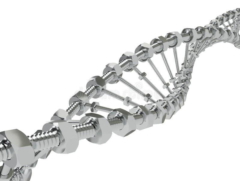 Винтовая линия ДНК с шестерни переданными молекулами вместо Генетический доработайте иллюстрацию науки и концепции 3d медицины иллюстрация вектора