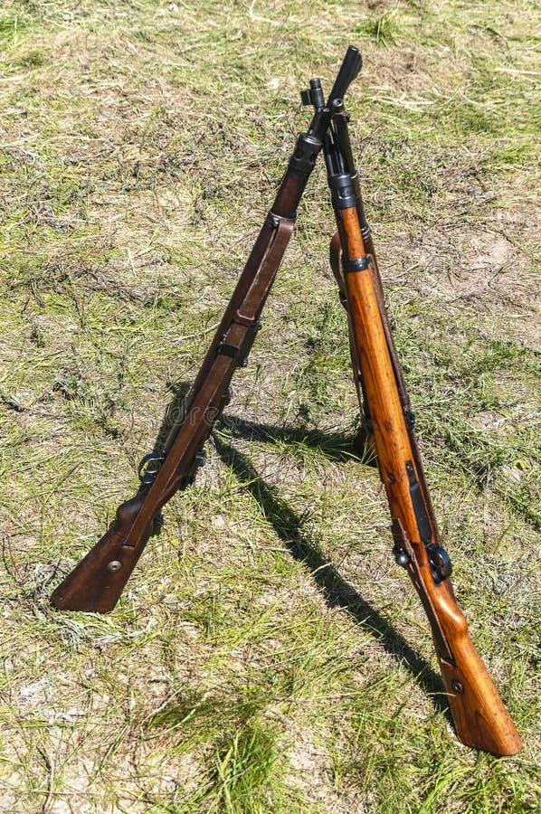 3 винтовки штуцера от Второй Мировой Войны стоковая фотография