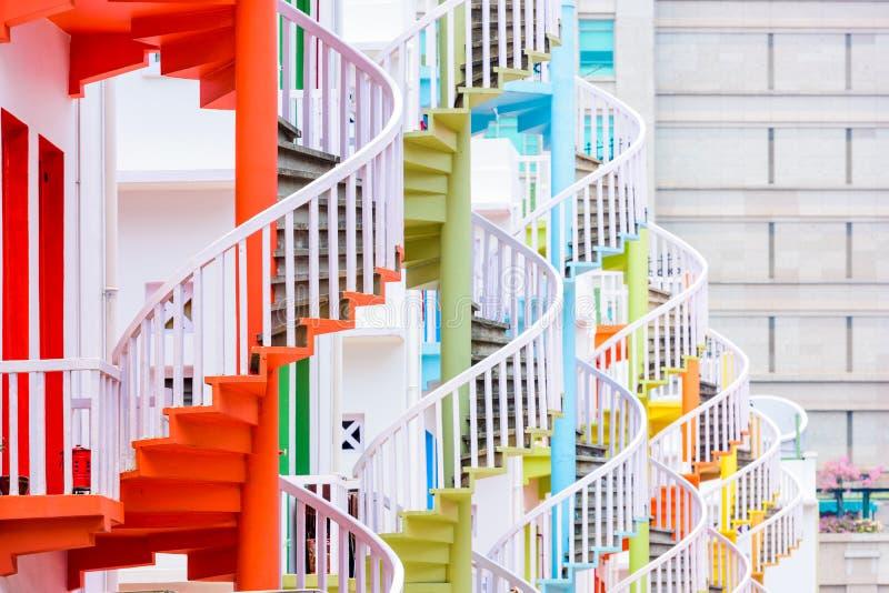 Винтовые лестницы Сингапура стоковые изображения rf