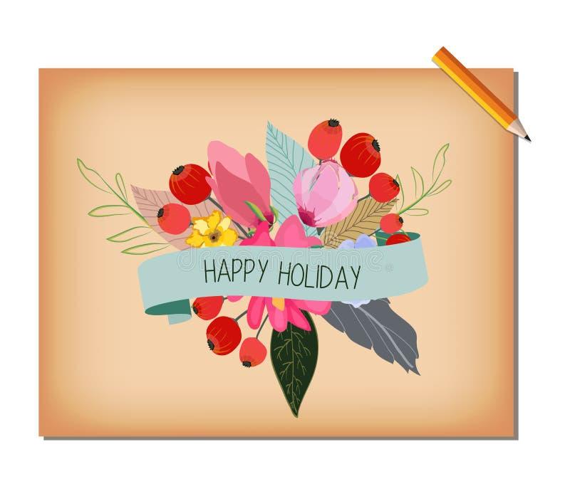 Виньетка лета красивой нежной акварели винтажная с красными маками иллюстрация штока