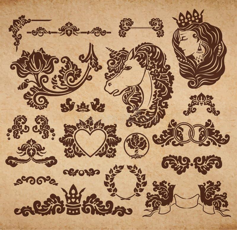 Виньетки свадьбы вектора королевские иллюстрация штока