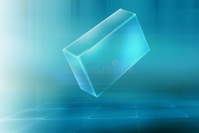 Виртуальная коробка на прозрачном поле решетки с световыми лучами от левой стороны бесплатная иллюстрация