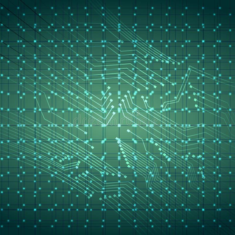 Виртуальная предпосылка монтажной платы провода технологии с светами также вектор иллюстрации притяжки corel иллюстрация вектора