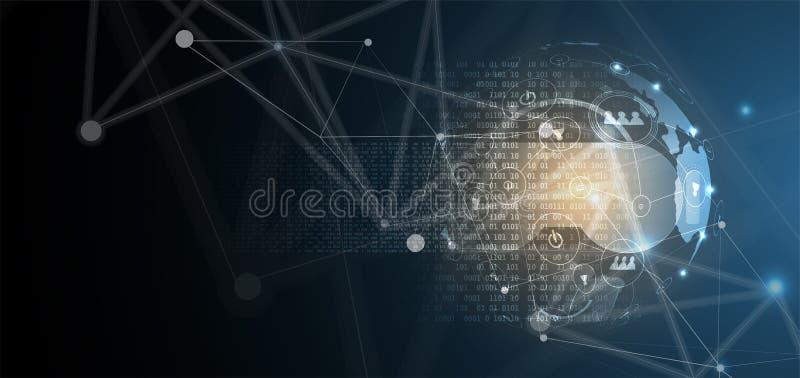 Виртуальная реальность в предпосылке технологии жизни будущей иллюстрация штока