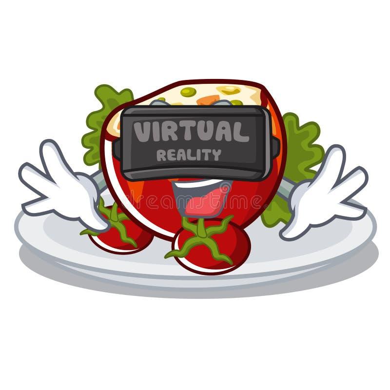 Виртуальная реальность заполнила томаты на доске мультфильма иллюстрация вектора