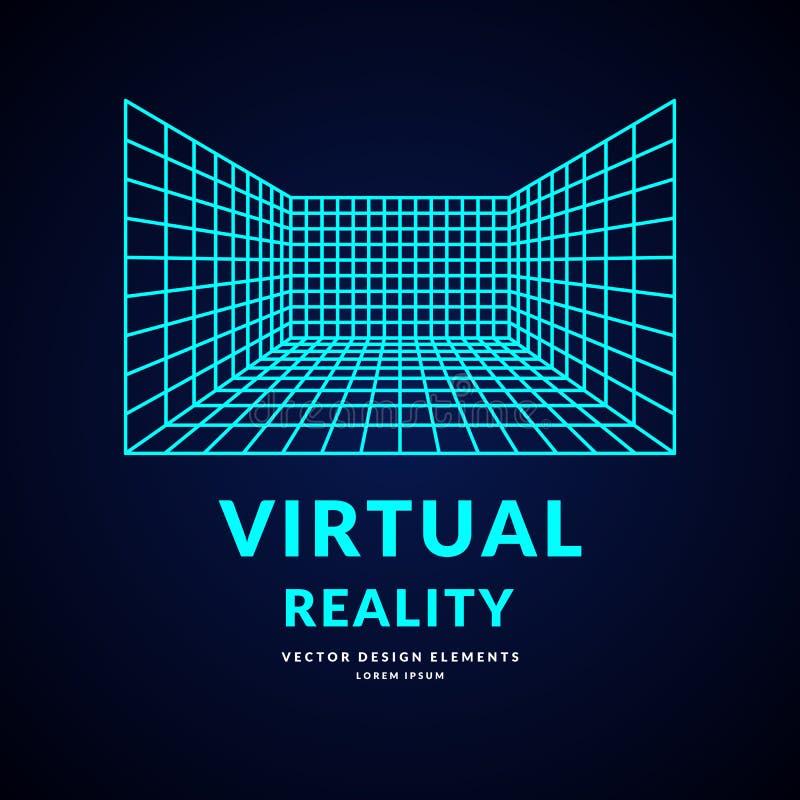 Виртуальная реальность и новые технологии для игр Комната с решеткой перспективы иллюстрация вектора