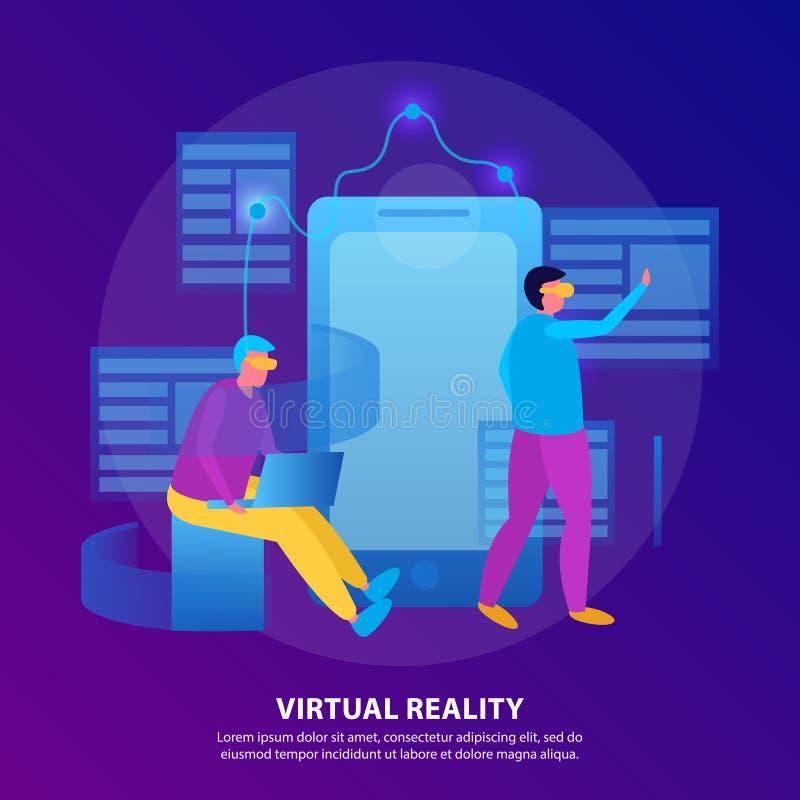 Виртуальная реальность плоско покрасила состав иллюстрация вектора