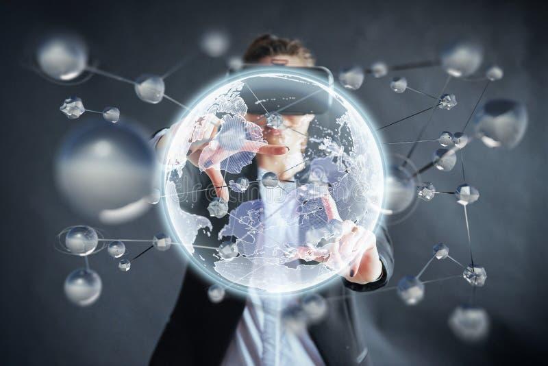 Виртуальная реальность, 3D-technologies, виртуальное пространство, наука и концепция людей - счастливая женщина в стеклах 3d каса стоковые изображения