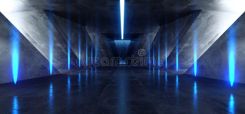 Виртуальная реальность Sci Fi входа ворот следа пути живой предпосылки коридора Hall фары треугольника неоновой накаляя голубая ф иллюстрация штока