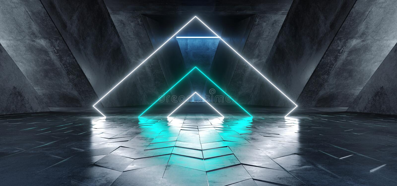 Виртуальная реальность Sci Fi входа ворот следа пути предпосылки этапа конструкции живого треугольника неоновая накаляя голубая б бесплатная иллюстрация