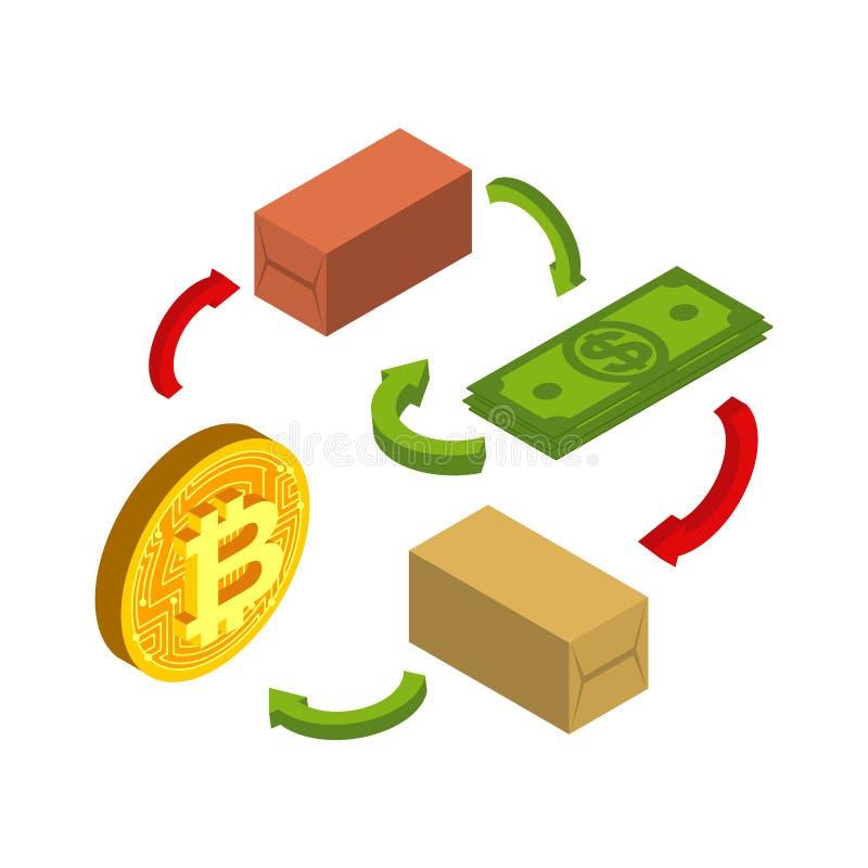 Виртуальная торговая схема Обмен Bitcoin Доллар и секретное curren иллюстрация вектора