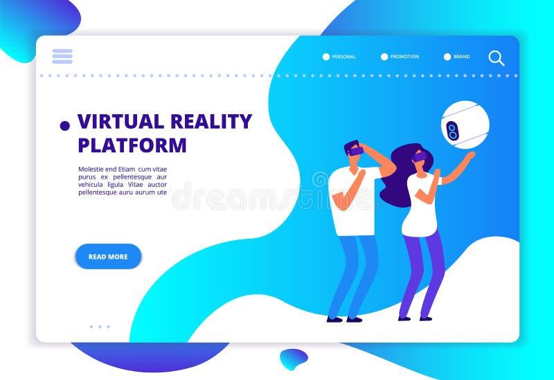 Виртуальная увеличенная реальность Люди при передвижные развлечения и шлемофон играя виртуальную игру Технология будущего Vr иллюстрация штока