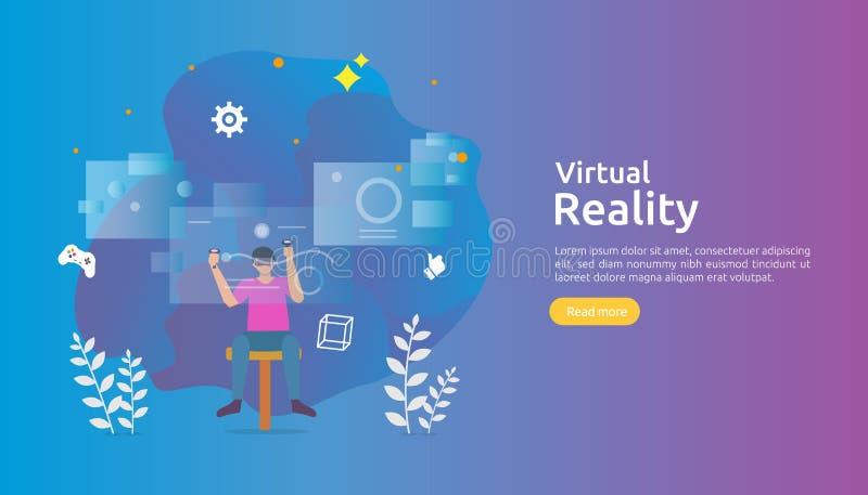 Виртуальная увеличенная реальность характер людей касаясь интерфейсу VR и нося изумленный взгляд играя игры, образование, развлек иллюстрация вектора