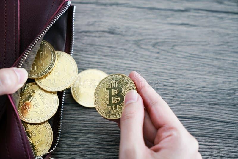 Виртуальное bitcoin золота бумажника валюты бумажник компьтер-книжки bitcoin bisector стоковое фото rf