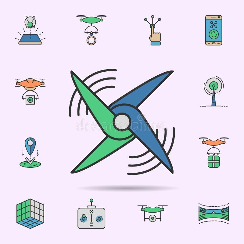 Виртуальной значок покрашенный лопаткой вентилятора неоновый Элементы набора виртуальной реальности r иллюстрация вектора