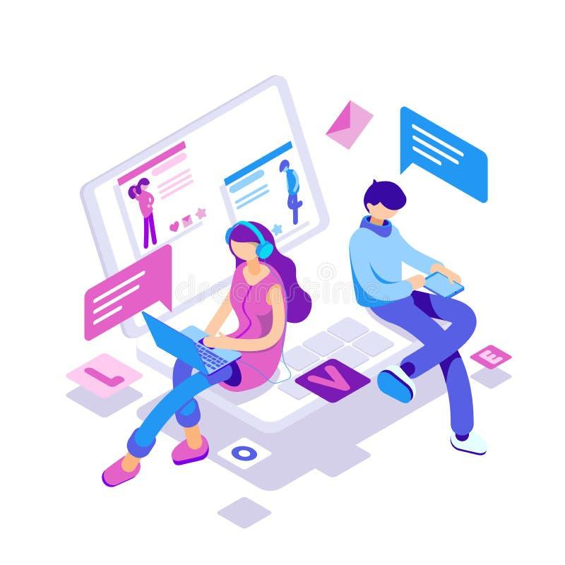 Виртуальные отношения, онлайн датировка и социальная концепция сети - подростки беседуя на интернете иллюстрация штока