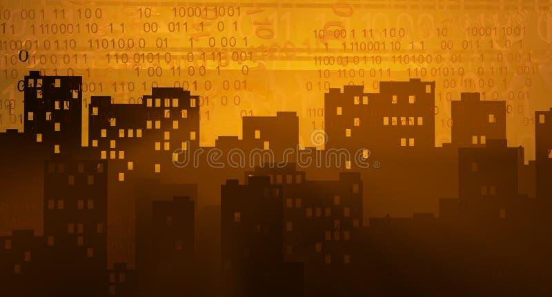 Виртуальный заход солнца города иллюстрация вектора