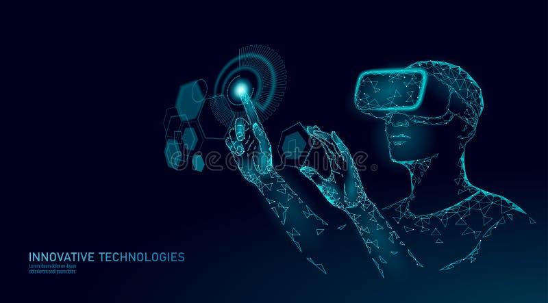 Виртуальный увеличенный шлем реальности низко поли Концепция развлечений средств массовой информации нововведения полигональная Д бесплатная иллюстрация