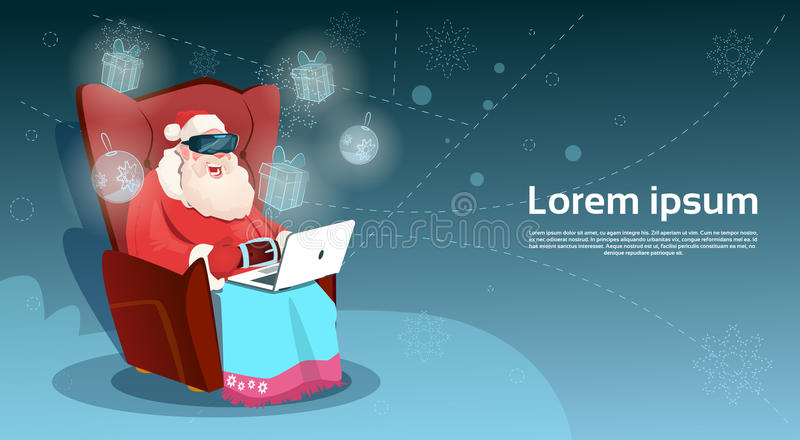 Виртуальная реальность стекел цифров носки Санта Клауса сидит использующ Новый Год компьтер-книжки с Рождеством Христовым счастли бесплатная иллюстрация