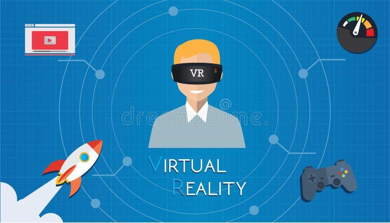 Виртуальная реальность VR играя игру иллюстрация штока