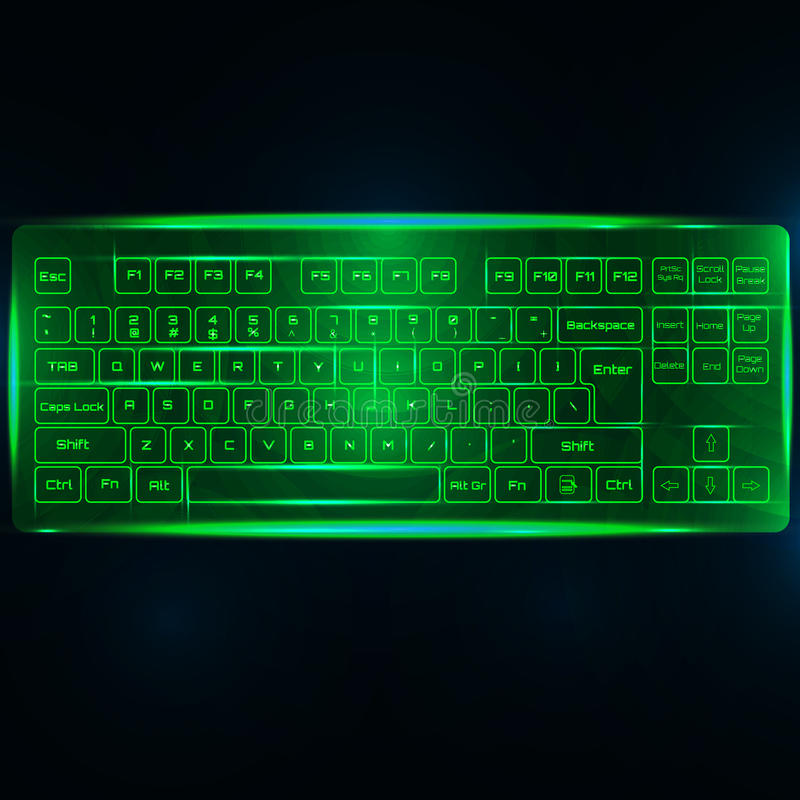 Виртуальные сияющие клавиатура или кнопочная панель ПК компьютера на темной ой-зелен задней части бесплатная иллюстрация
