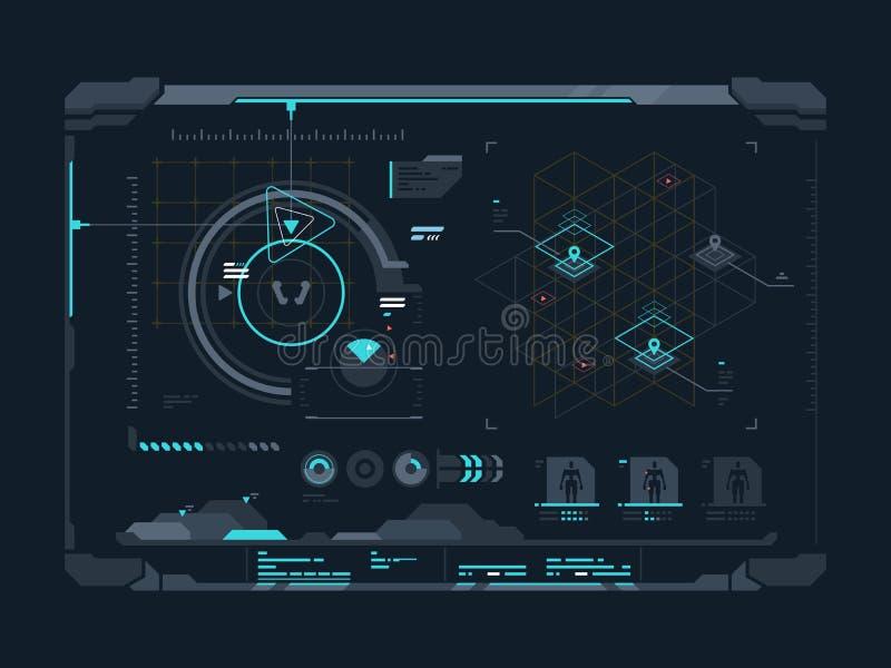 Виртуальный цифровой интерфейс иллюстрация вектора