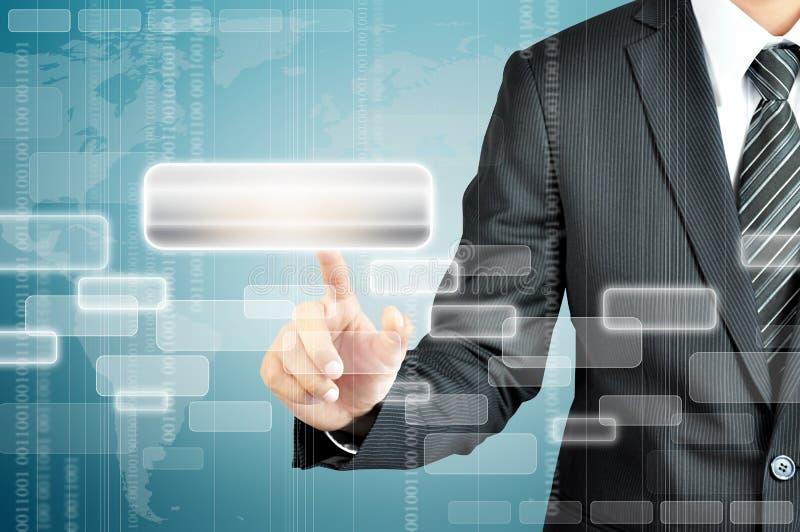 Виртуальный экран руки бизнесмена касающий пустой иллюстрация вектора