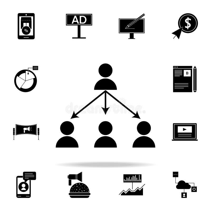 вирусный значок маркетинга Комплект значков маркетинга цифров всеобщий для сети и черни иллюстрация штока