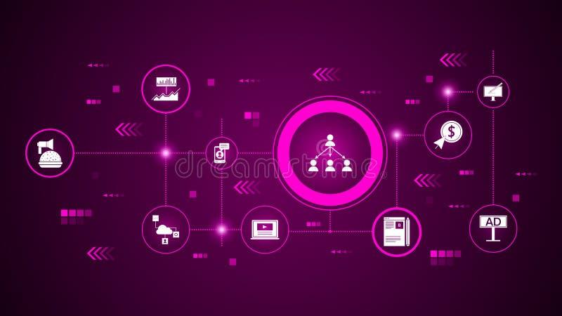 вирусный значок маркетинга От маркетинга цифров, набор продвижения бесплатная иллюстрация