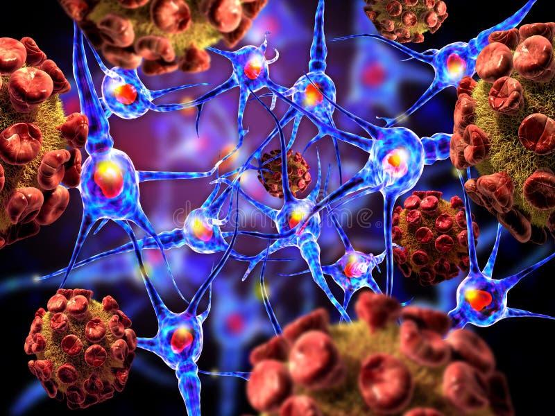 Вирусы атакуя нервные клетки иллюстрация штока