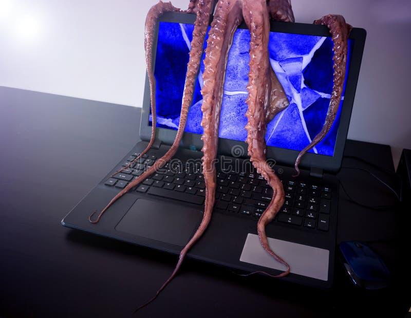 вирус изображения принципиальной схемы компьютера 3d Ноутбук зараженный злым программным обеспечением стоковые изображения
