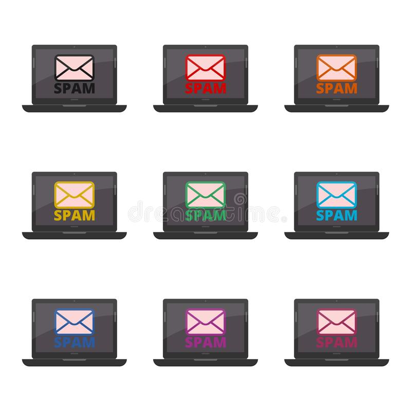 Вирус на электронной почте, спаме электронной почты, концепции кибер атаки значок или логотип, набор цвета иллюстрация штока