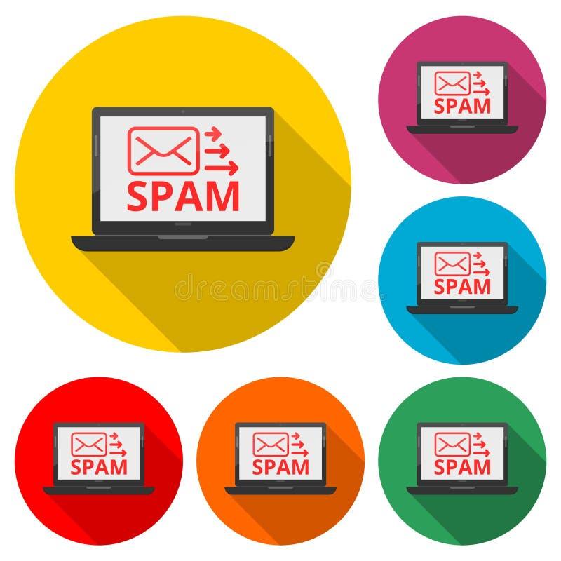 Вирус на электронной почте, спаме электронной почты, концепции кибер атаки значок или логотип, набор цвета с длинной тенью бесплатная иллюстрация