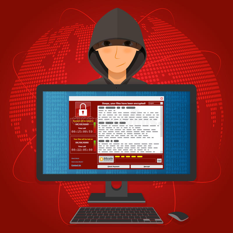 Вирус Malware Ransomware wannacry шифровал ваши файлы и requi иллюстрация вектора