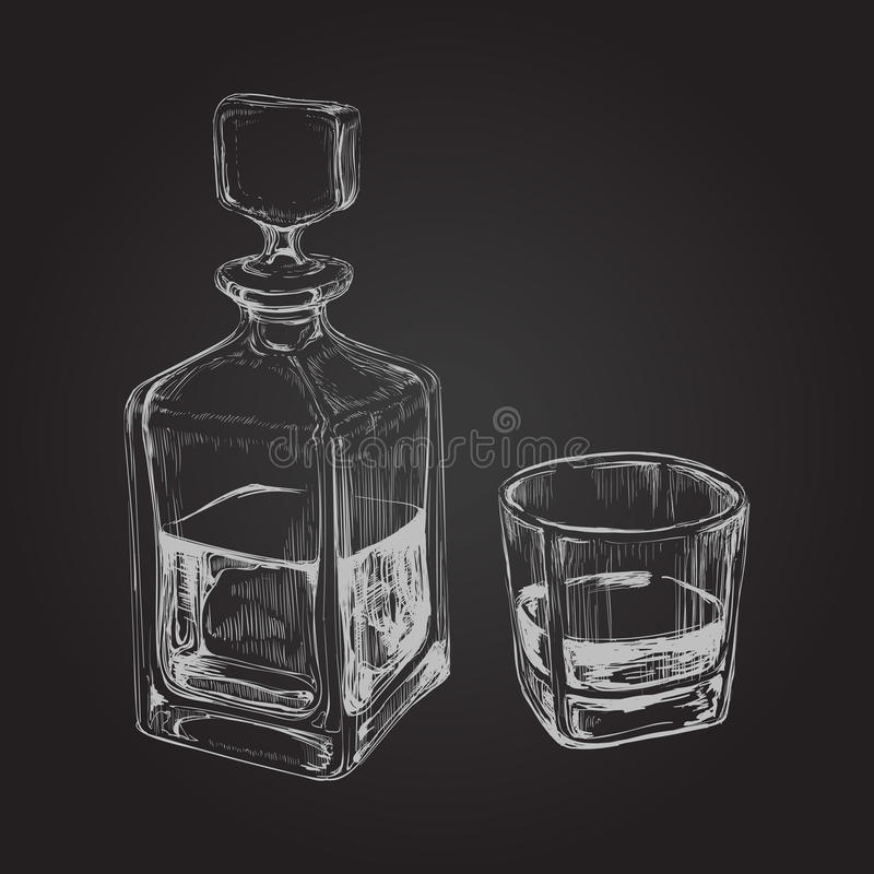 виски бутылочного стекла Нарисованная рукой иллюстрация вектора питья иллюстрация штока