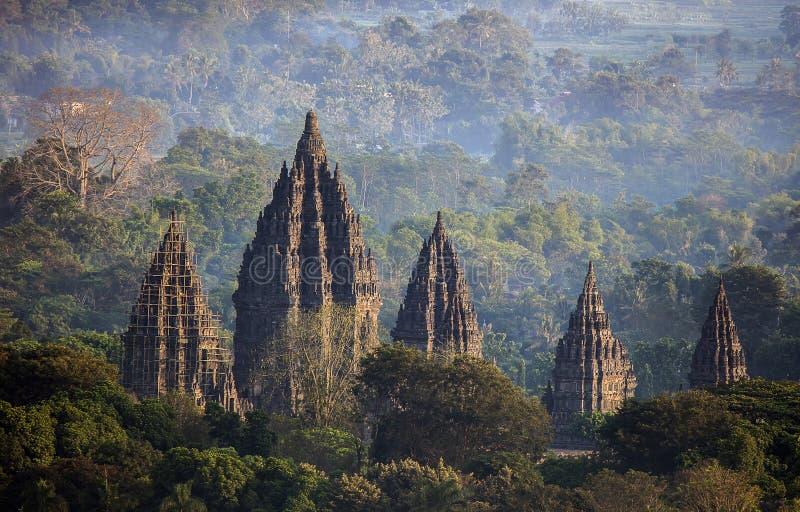 Висок в утре, Yogyakarta Индонезия Prambanan стоковые изображения