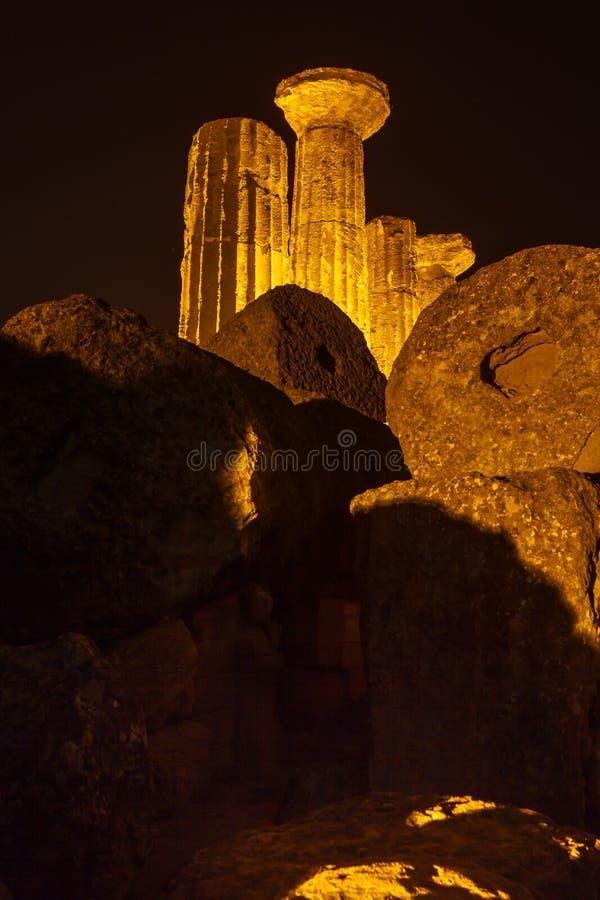Висок Геркулеса в парке Агриджента археологическом Сицилия стоковое изображение rf