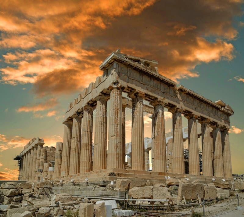 Висок древнегреческия Парфенона в греческой столице Афинах Греции стоковое изображение rf