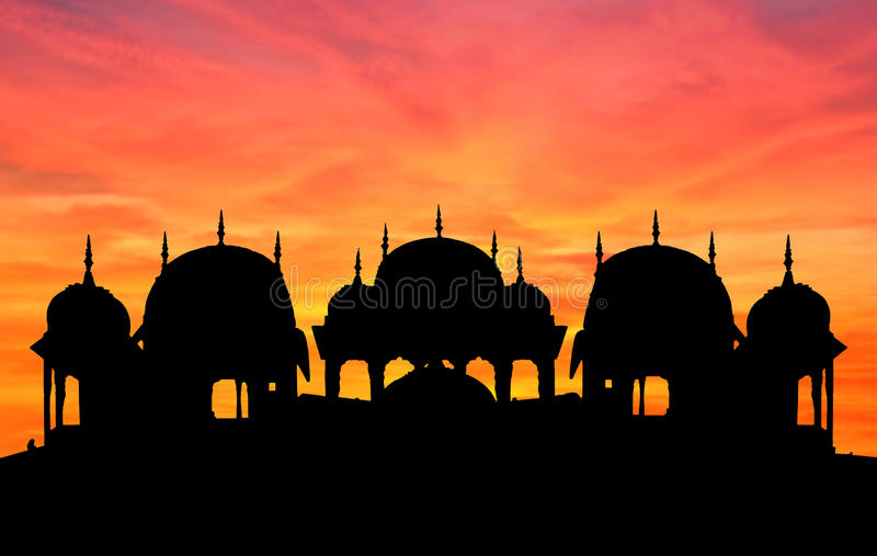 висок захода солнца Раджастхана стоковые фотографии rf