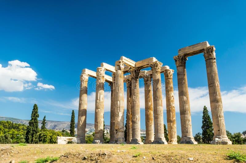 Висок Зевса олимпийца, Афин, Греции стоковая фотография rf