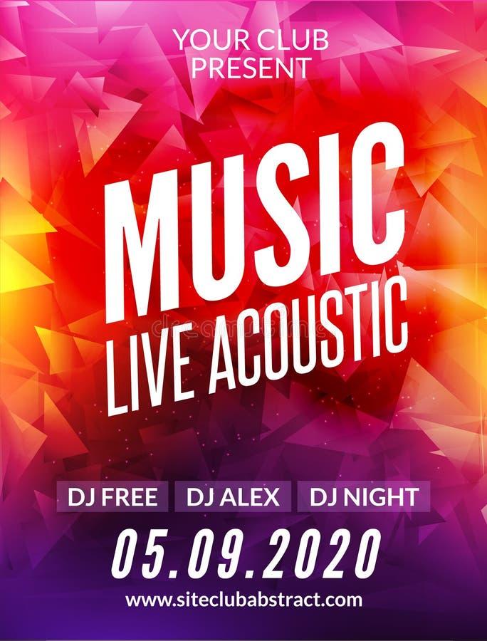 Висок дизайна плаката живой музыки акустический Рогулька приглашения dj партии шоу в прямом эфире современная бесплатная иллюстрация