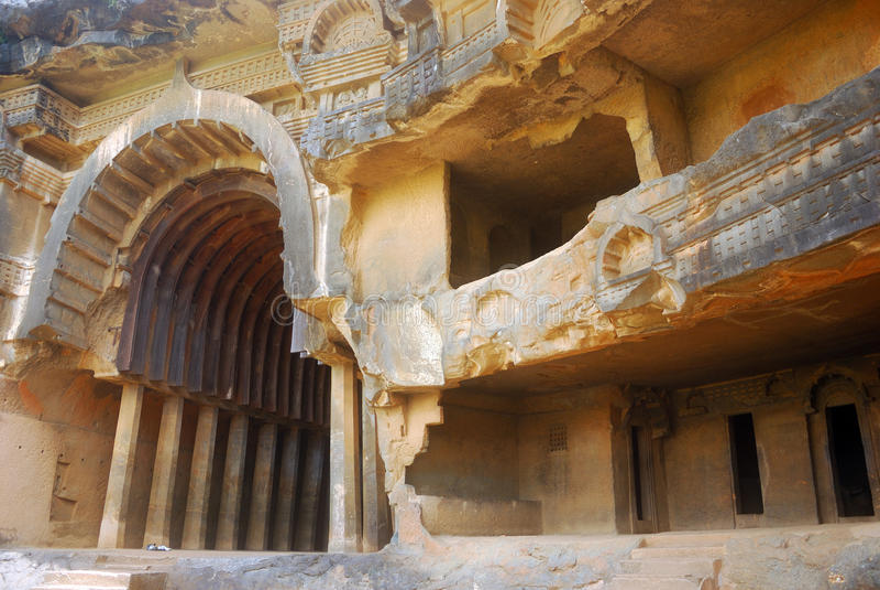 висок махарастры Индии подземелья bhaja стоковое фото rf