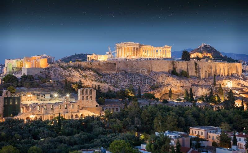 Висок Парфенона на акрополе Афин, Греции стоковые изображения rf