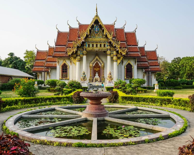 Висок Таиланда буддийский в городе Bodhgaya, Индии стоковая фотография