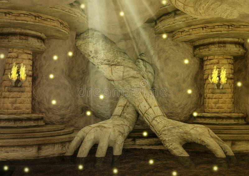 Висок фантазии с огромными скалистыми руками и факелами в стене бесплатная иллюстрация